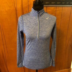 Nike blue dri-fit long sleeve running shirt